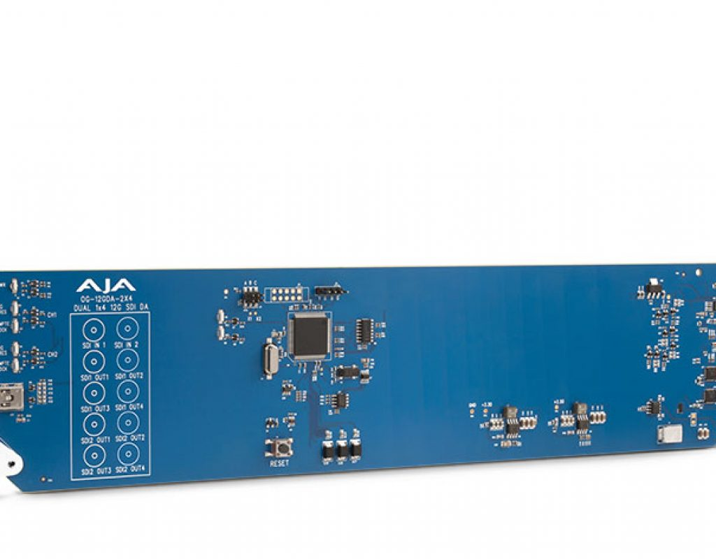 AJA  shows OG-12GDA-2x4, an openGear 12G-SDI distribution amplifier 1