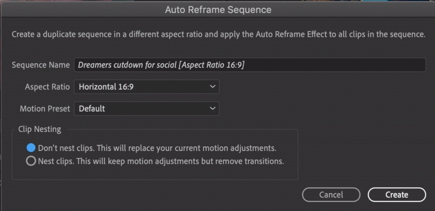 Auto Reframe for Adobe Premiere Pro will make Social Media reformats easier 13