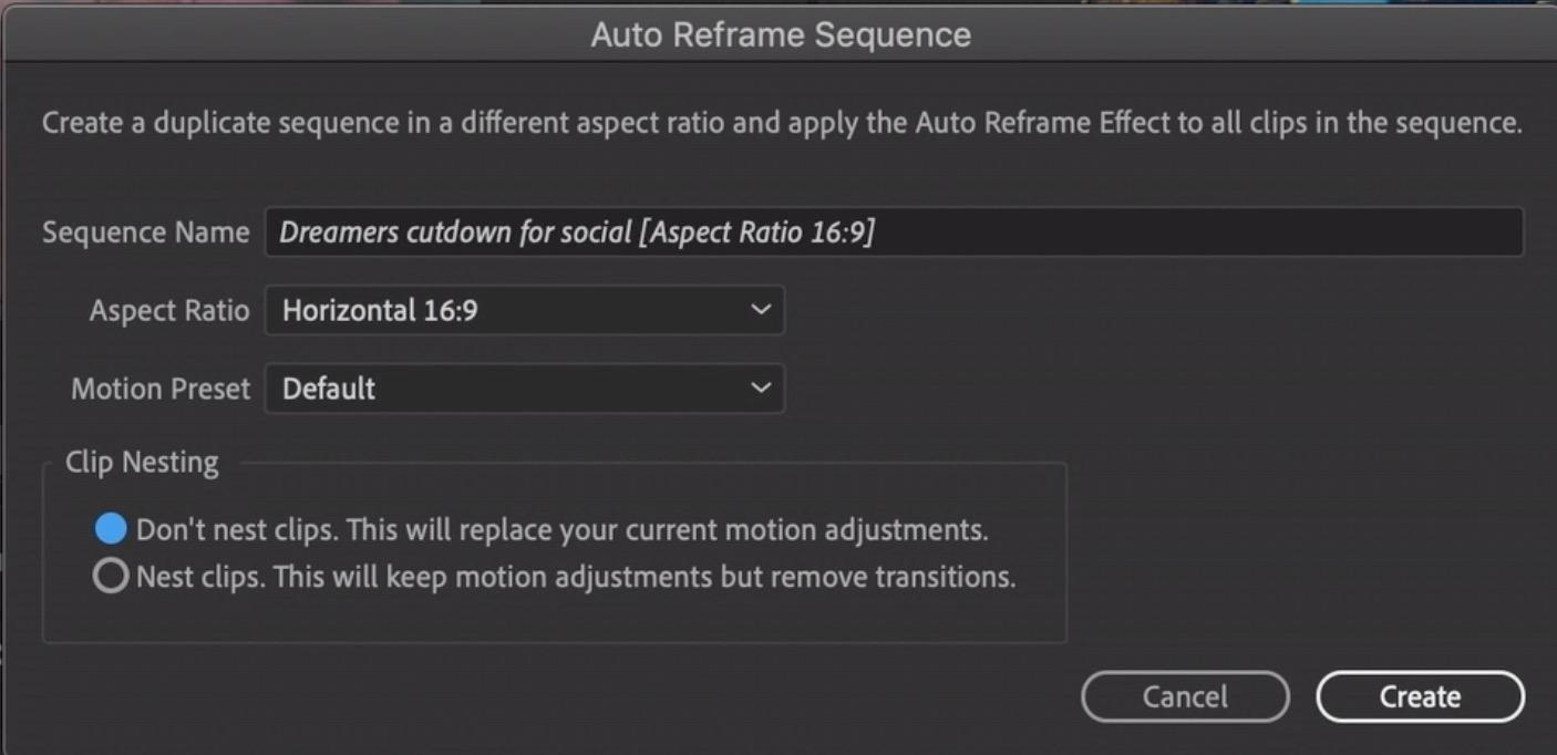 Auto Reframe for Adobe Premiere Pro will make Social Media reformats easier 5