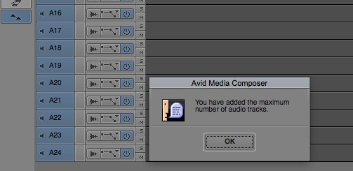 avid 85 max audio tracks 24