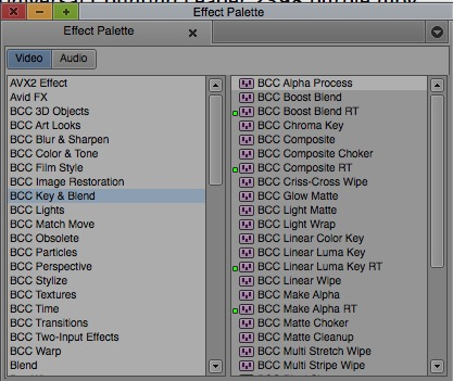avid 85 old effects palette