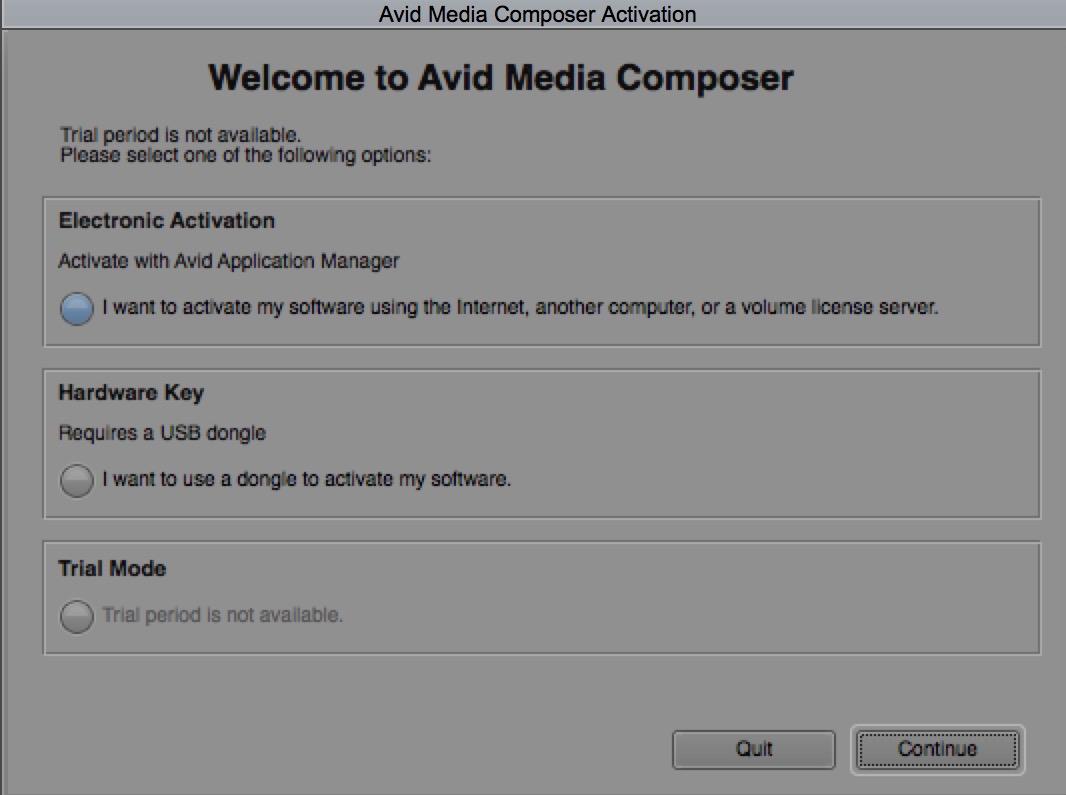 Avid Media Composer activation screen