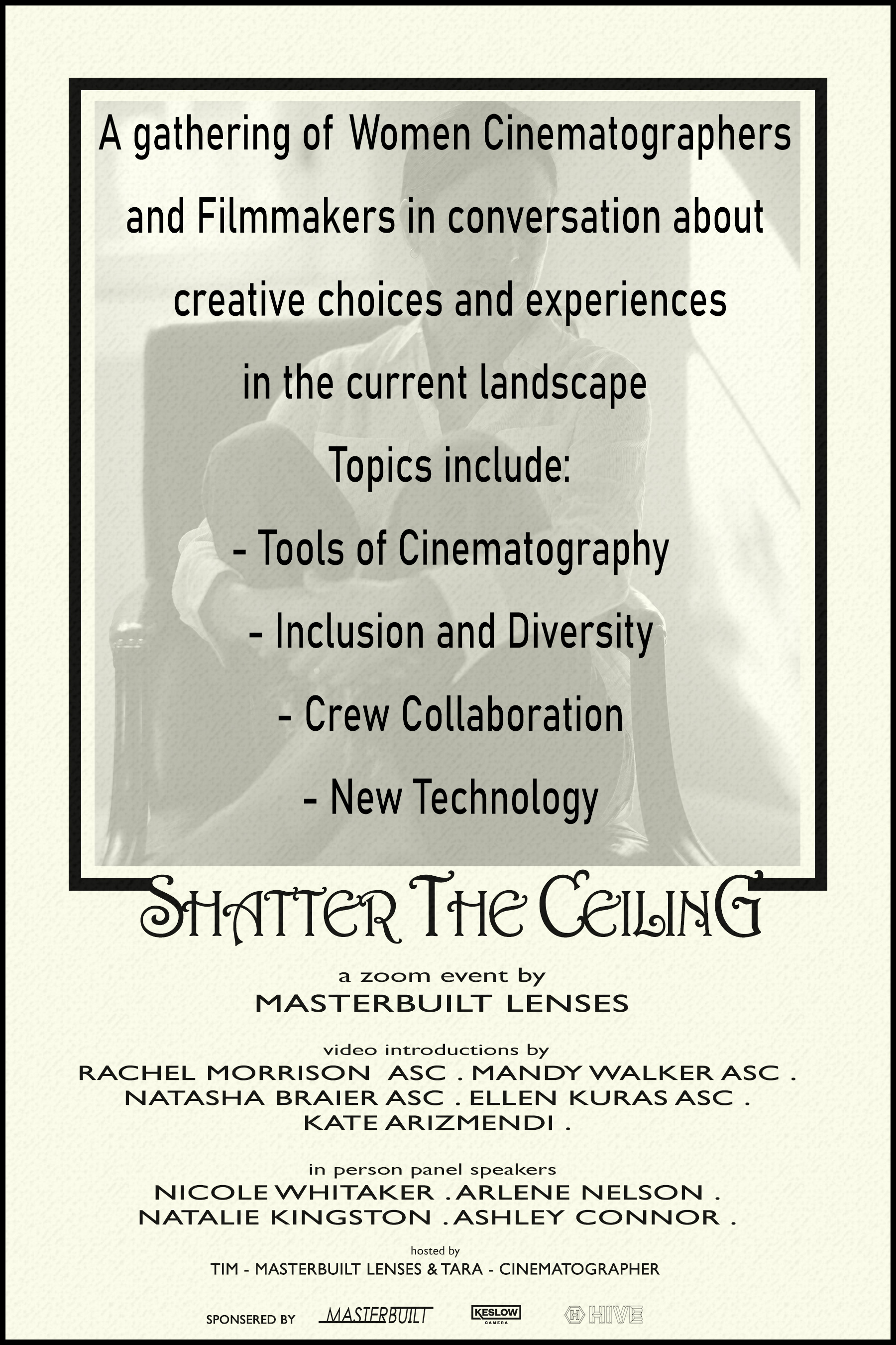 """Shatter the Ceiling"" Women Cinematographers invitation"