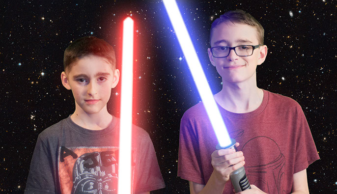 ben and alex with lightsabers1