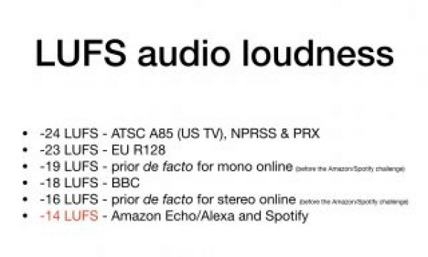 LUFS audio standards update for May 2018