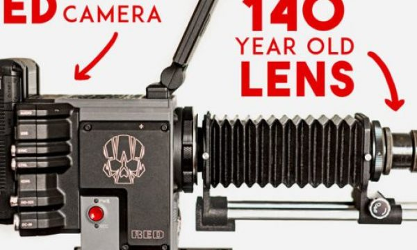 A RED camera with a 140-year old lens