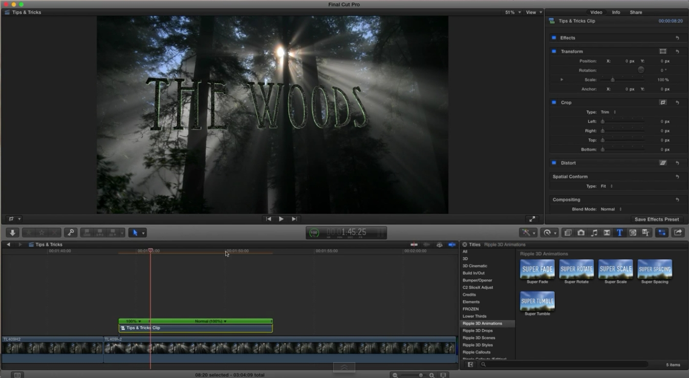 3D Title Animation Tips for Final Cut Pro X 3