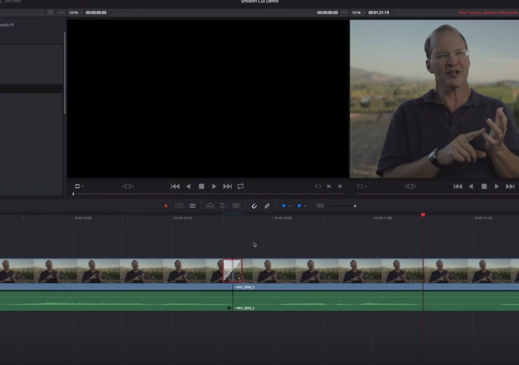 Smooth cut transitions in Resolve 12 1