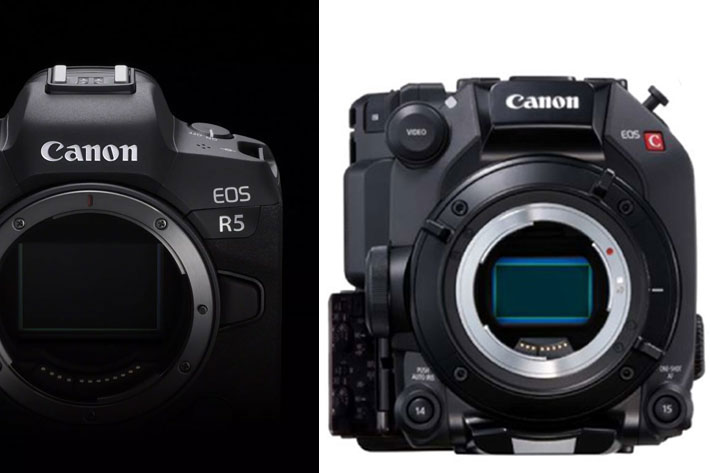 Canon EOS R5: ready for high-end production, works well with EOS C300 Mark III