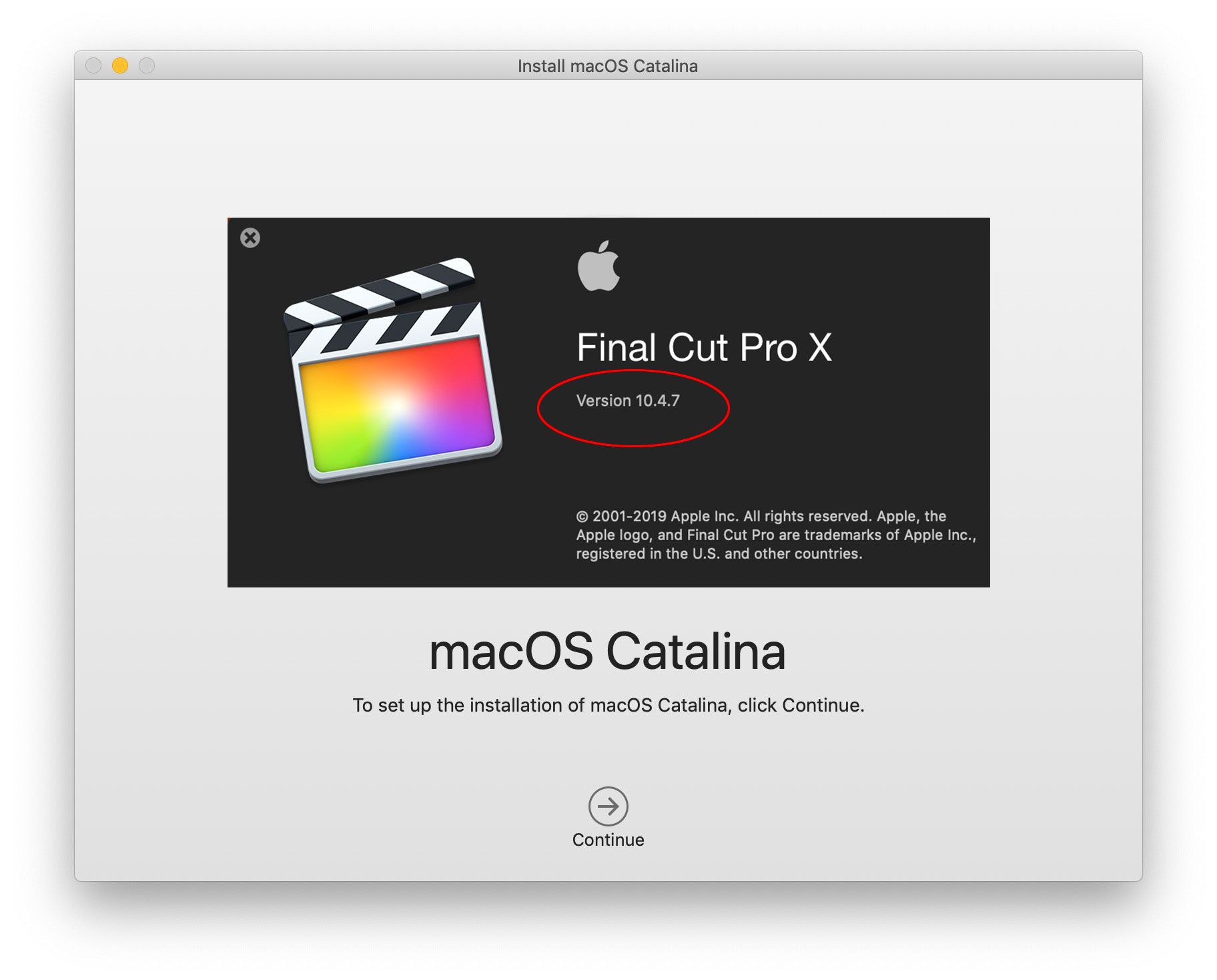 Final Cut Pro X updated to 10 4 7, MacOS updated to 10 15