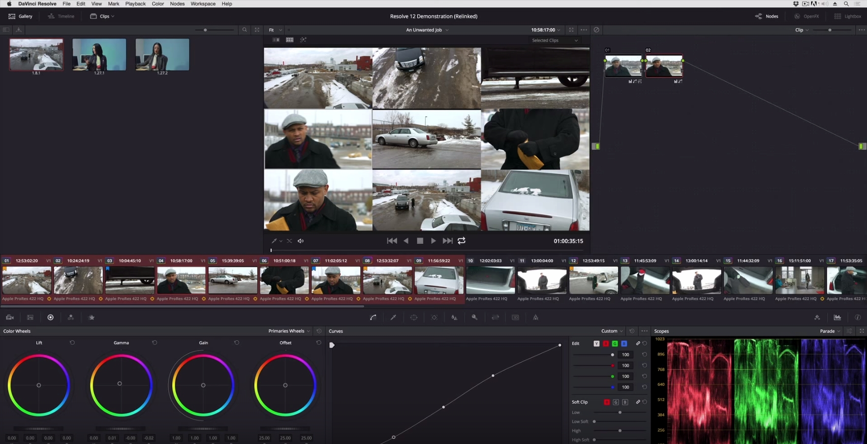Appending a node to multiple clips in Resolve 12 4