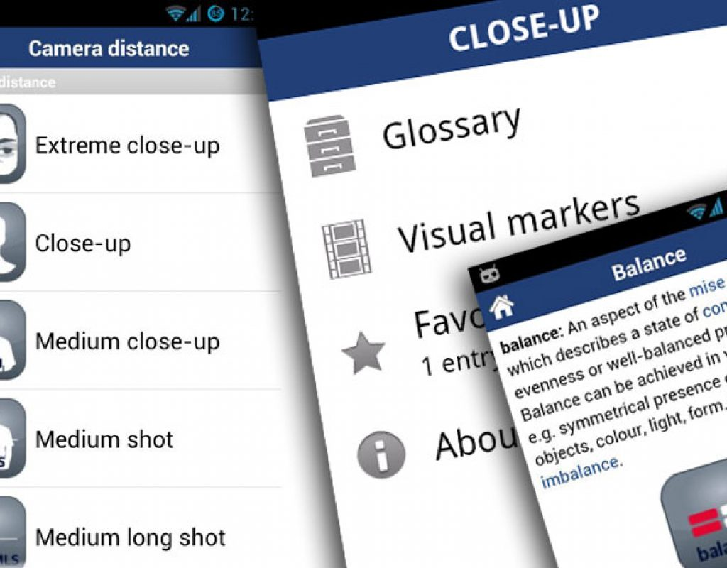 Close-Up, a film language glossary for iOS and Android