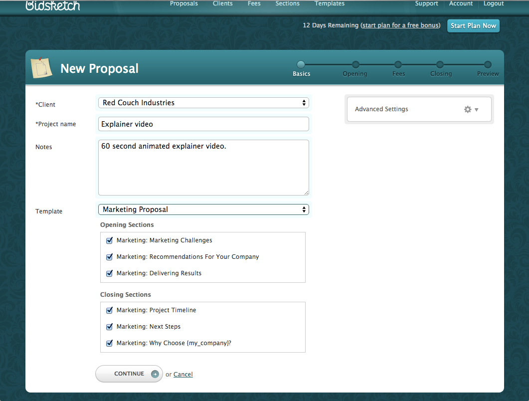 Create a new proposal