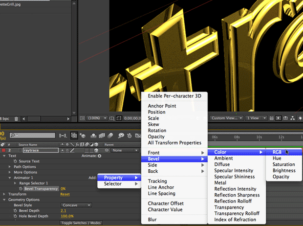 After Effects CS6 Tutorial: Targeting Properties in the new Ray-Traced 3D Engine 4