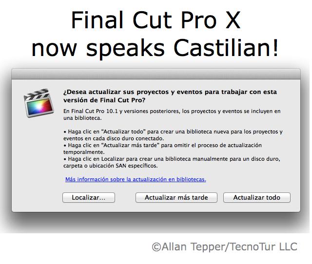 """Final Cut Pro X 10.1 now speaks Castilian (aka """"Spanish"""") 24"""
