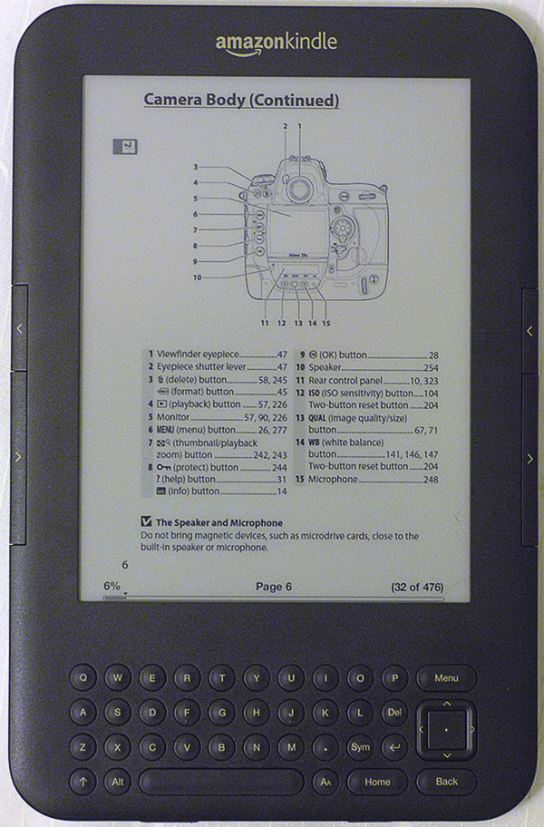 Amazon Kindle eReader with Nikon D3x camera body pdf manual for location photographers, ©Tony Donaldson/tdphoto.com
