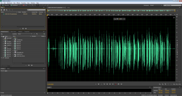 Starting work on an audio file in Adobe Audition