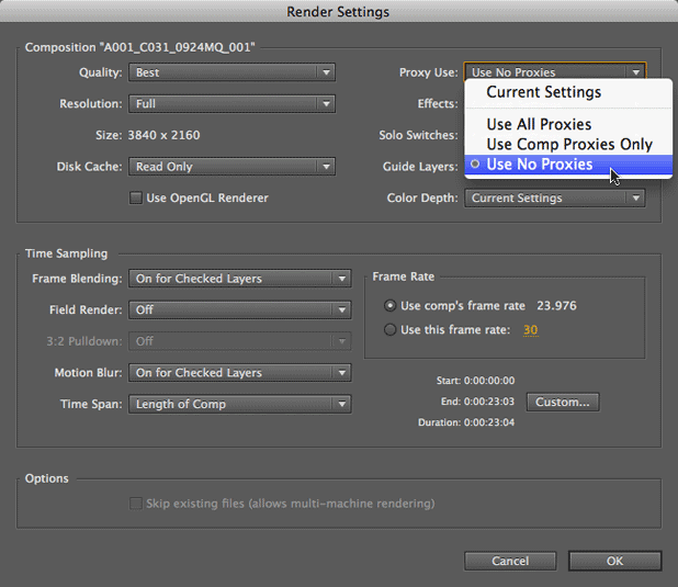 Using RED Footage Proxies in After Effects 15