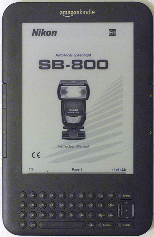Kindle eReader with Nikon Speedlight SB800 pdf manual for location photographers, ©Tony Donaldson/tdphoto.com