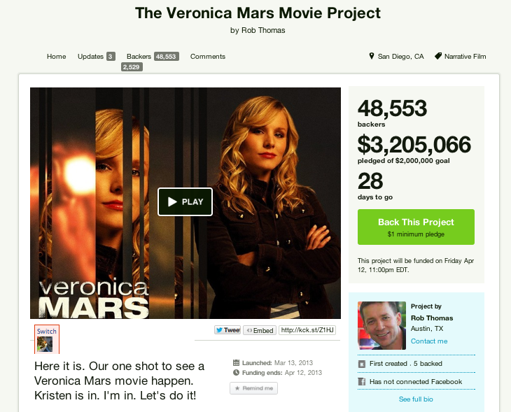 Veronica Mars on Kickstarter - aka The Game Changer? 3
