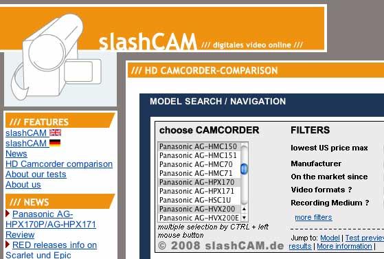 SlashCAM's Camcorder Database 5