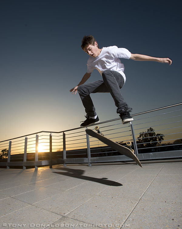 OCC Student Andrew Dietterle skateboards and is frozen using hypersync, Pocketwizard MiniTT1 and FlexTT5 units and Profoto Acute lights