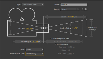 The After Effects camera settings