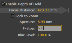 F-stops - only in the Camera Settings dialogue box