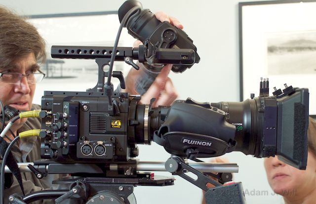 The F5 wears a Fujinon Cabrio 19-90mm zoom, Sony's 720p LCD EVF, and Element Technica accessories.