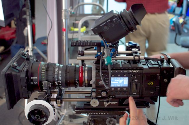 Sony F55, with 960x540 OLED EVF, raw recorder, Solid Camera power adapter, battery