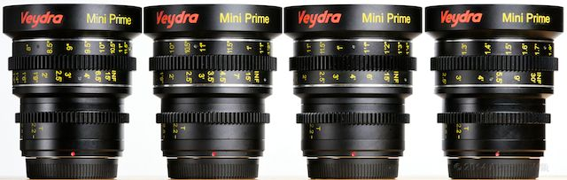 Top view of the Veydras: 16mm, 25mm, 35mm, 50mm.