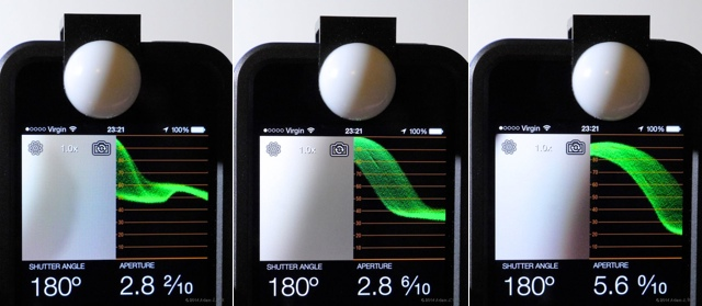 Light readings (and what the camera sees) with Luxi For All in three different positions