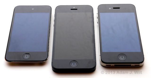 iPod touch 4G, iPhone 5, iPhone 4S.