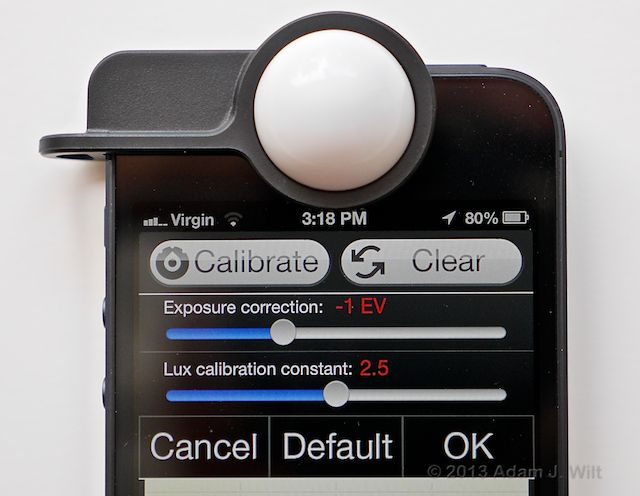 Pocket Light Meter Luxi calibration interface