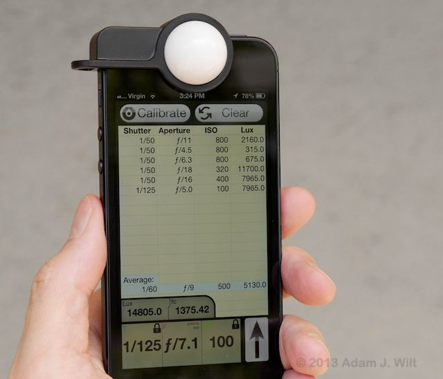 iPhone 5 running Pocket Light Meter with Luxi