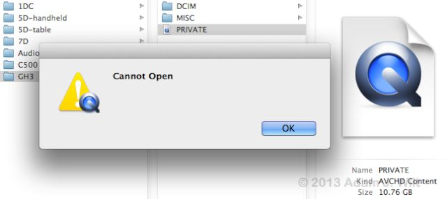 Cannot Open? Must be OS X failing to figure out an AVCHD folder...