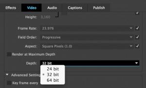 Premiere Pro color depth options