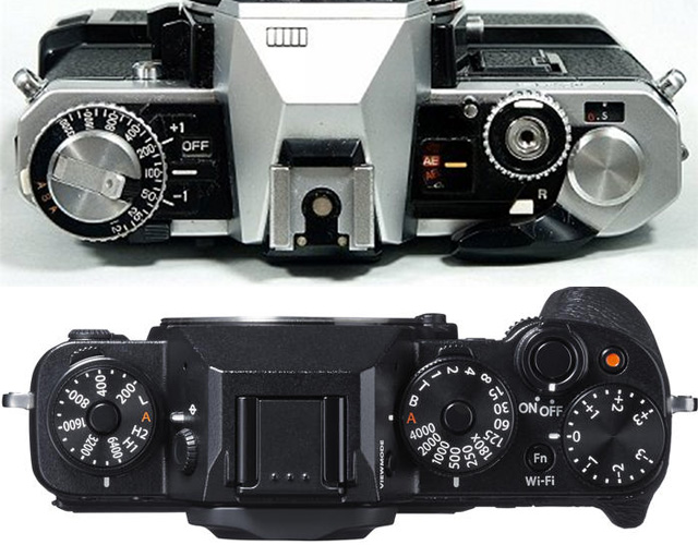 Dials and wheels from old days (Fujica STX-1 on top) are returning to modern mirrorless cameras (Fujifilm X-T1 on bottom)