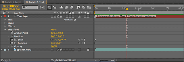 Transform effect in the After Effects timeline