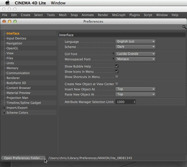 Preparing for Cinema 4D Lite v2.0 20