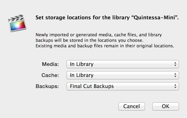 Fig 3. The Modify Settings dialog. Here is where you now set the location for your imported media, cache files, and backups.