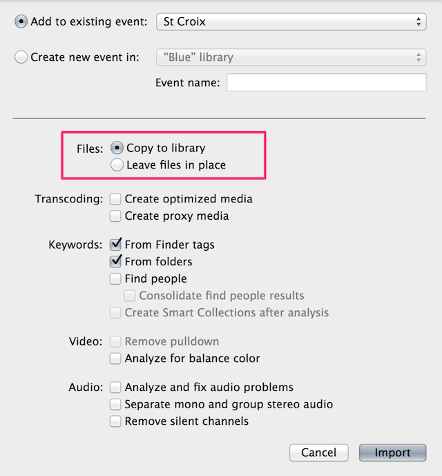 Fig 4. The Import Media dialog. If you choose to copy your media, the copy location reflects the setting in Library Properties.