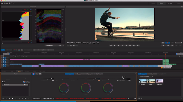 That timeline looks nice and (somewhat) complex and, most importantly, in SpeedGrade