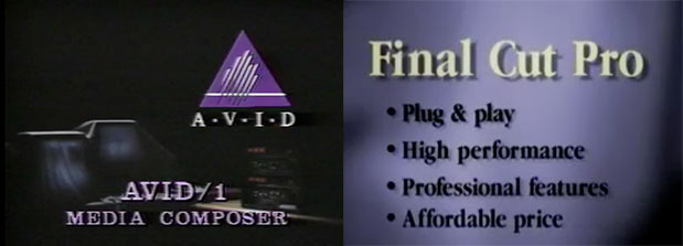 Early Media Composer and Final Cut Pro promo videos by Scott