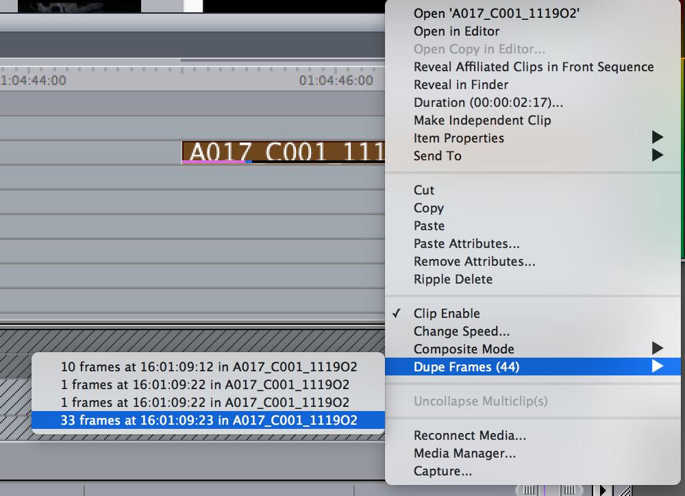 Final Cut Pro 7 dupe frames