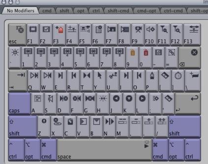 Final Cut Pro 7 keyboard editor