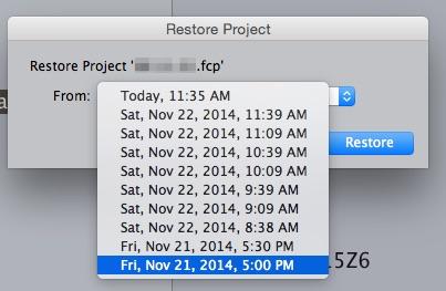 Final Cut Pro 7 restore project