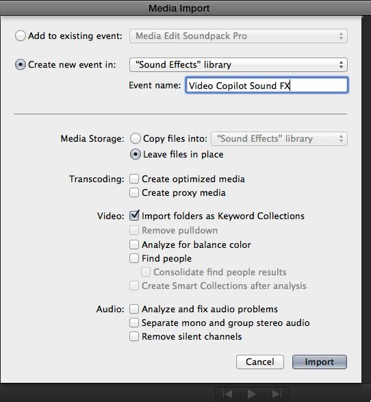 Final Cut Pro X 10.1 FCPX media import