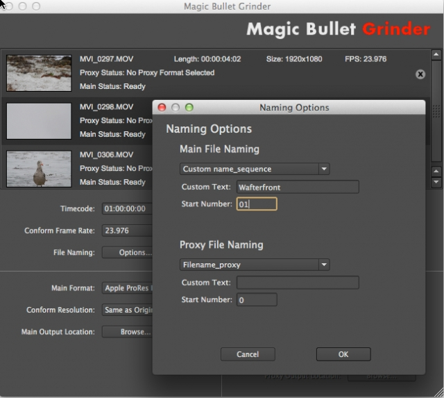 Red Giant Magic Bullet Grinder DSLR transcode