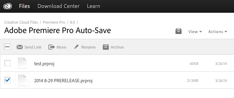 Adobe Premiere Pro CC autosave